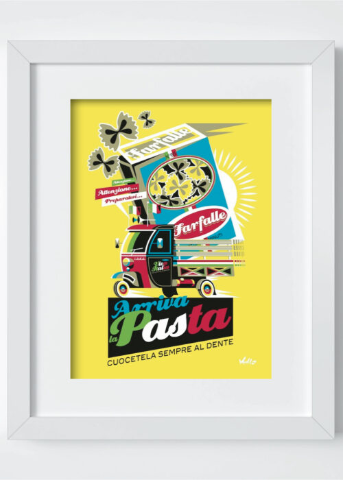 Arriva La Pasta postcard with frame