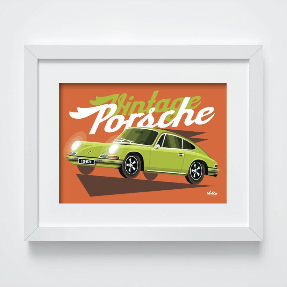 Carte postale Vintage 911 verte avec cadre