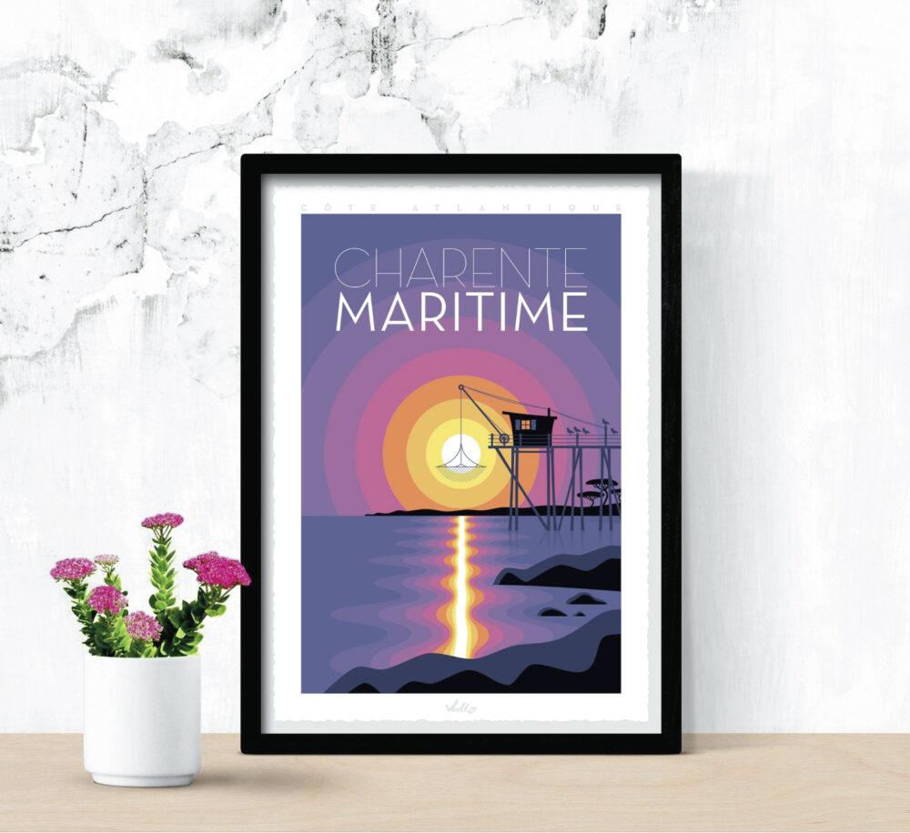 Affiche Charente-Maritime avec cadre
