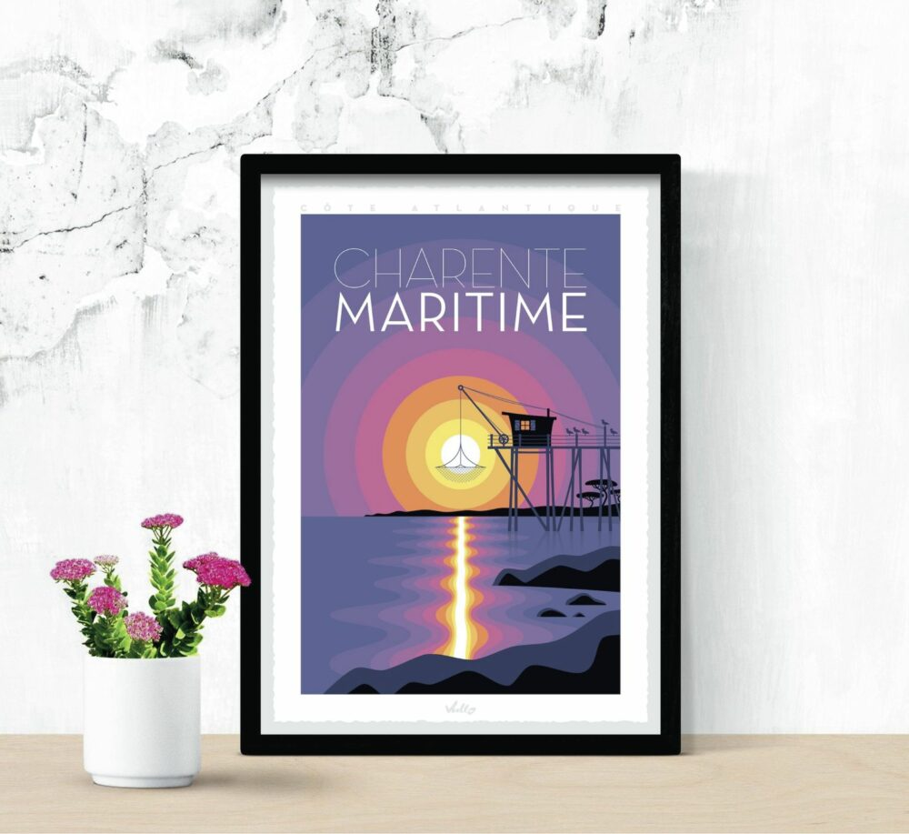 Charente-Maritime poster with frame
