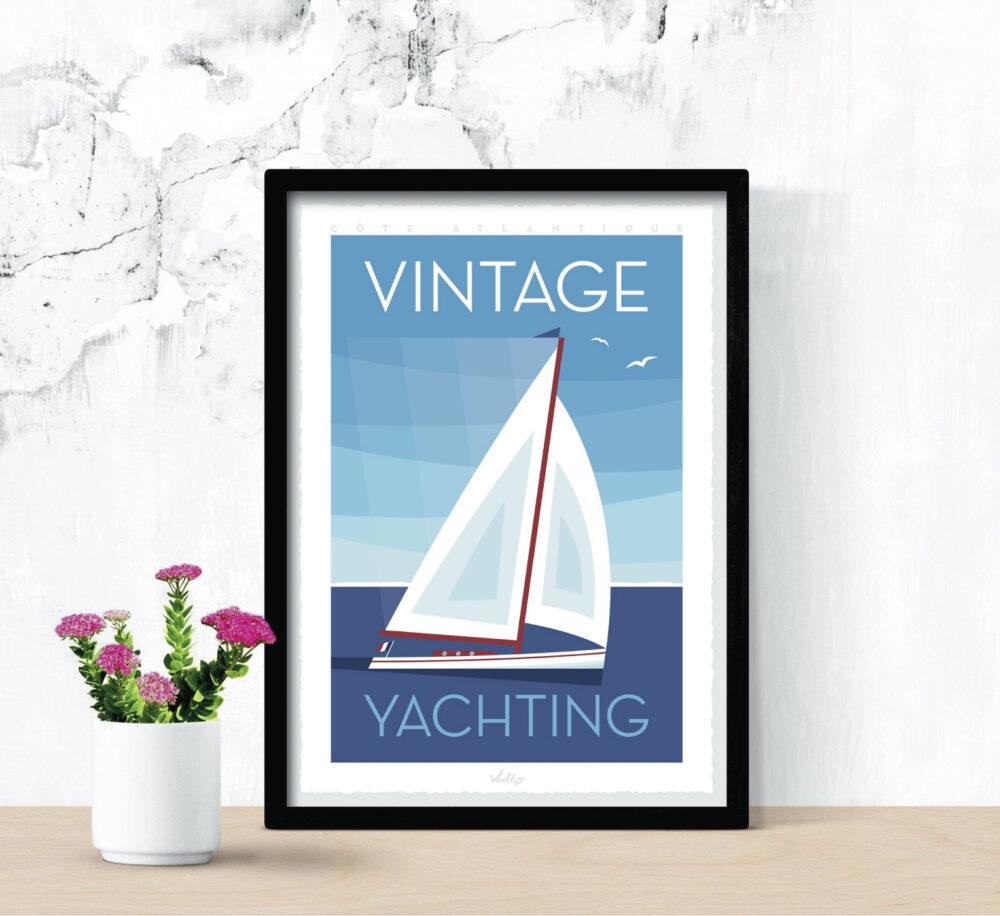 Affiche Vintage Yachting avec cadre