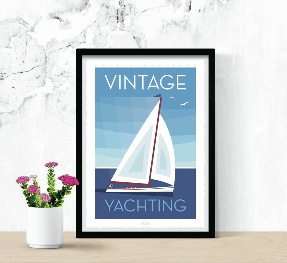 Vintage Yachting poster with frame