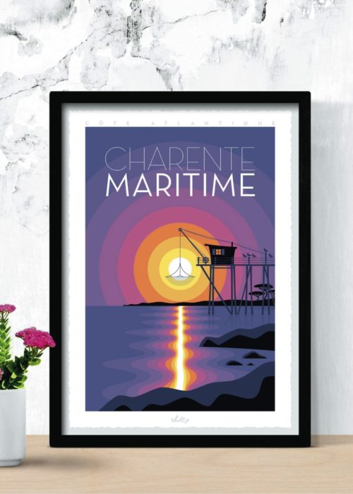 Charente Maritime poster with frame