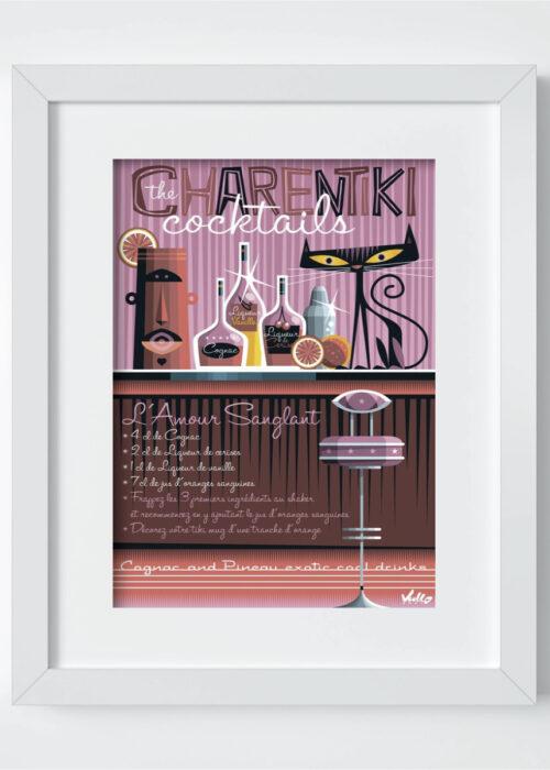 carte postale l amour sanglant avec cadre