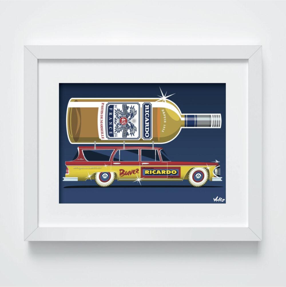 Carte postale Apero Wagon avec cadre