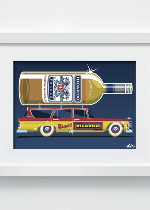 Apero Wagon postcard with frame