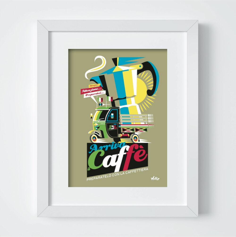 Carte postale Arriva Il Caffe avec cadre