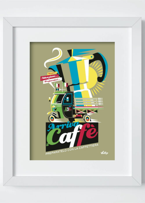 Arriva Il Caffe postcard with frame