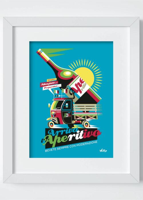 Carte postale Arriva L Aperitivo avec cadre
