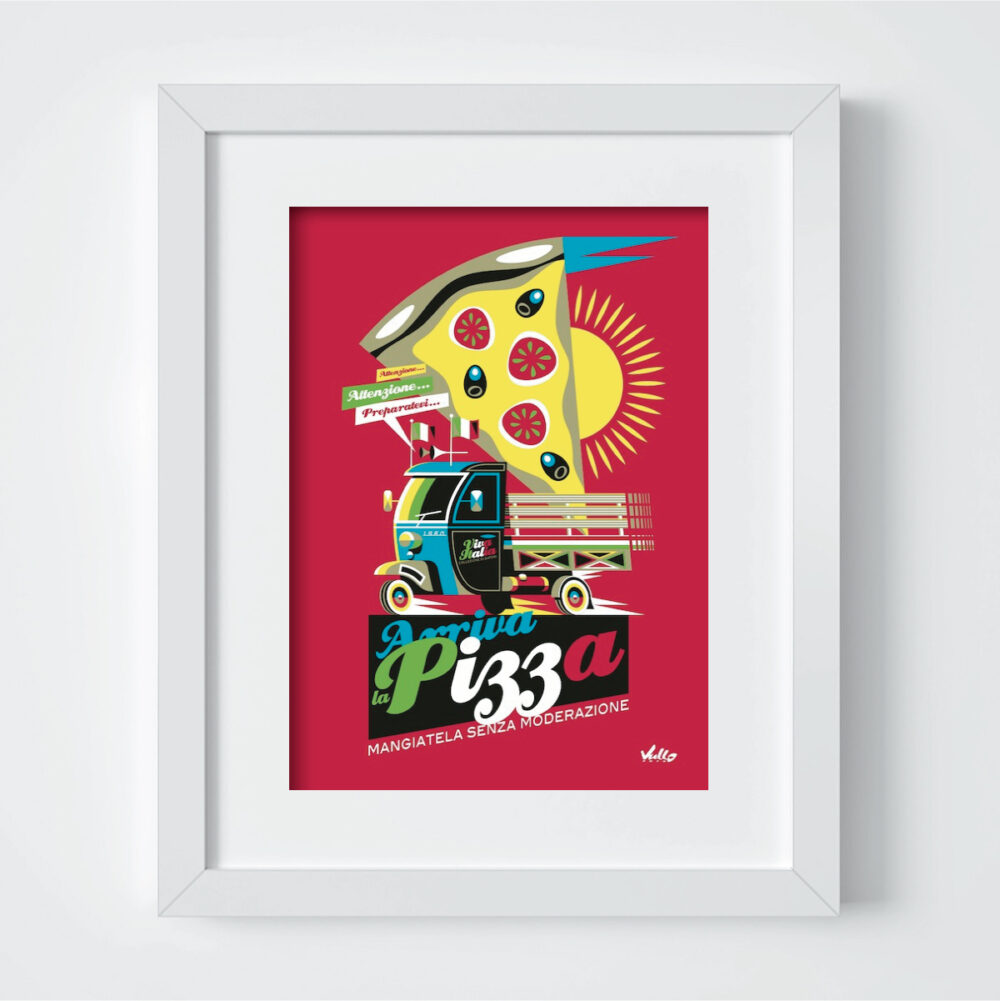 Carte postale Arriva La Pizza avec cadre