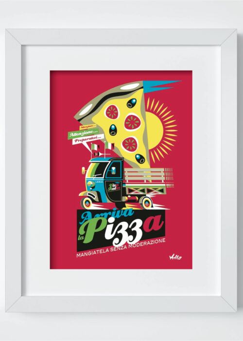 Arriva La Pizza postcard with frame