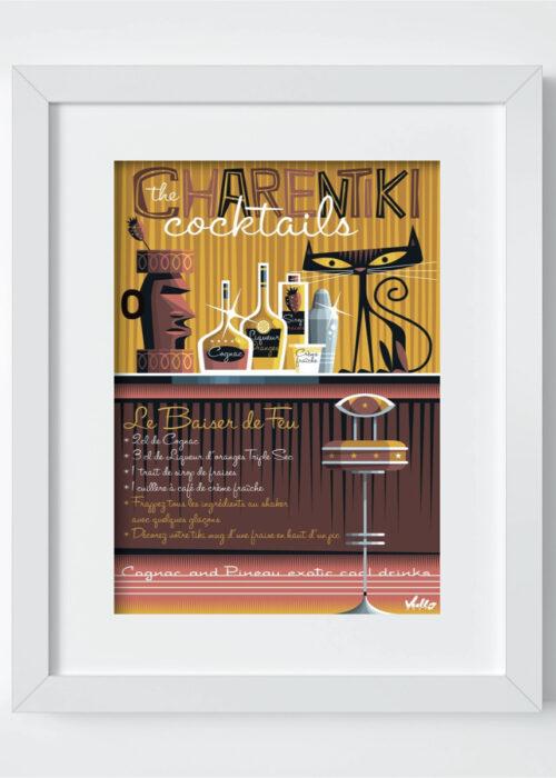 baiser de feu postcard with frame