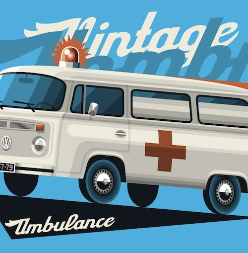 Bay Window Ambulance postcard