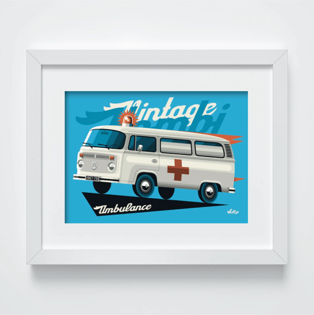 Carte postale Bay Window Ambulance avec cadre