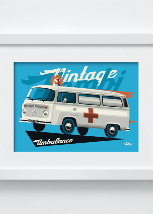 Bay Window Ambulance postcard with frame