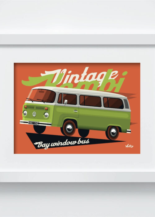 Bay Window Bus postcard with frame