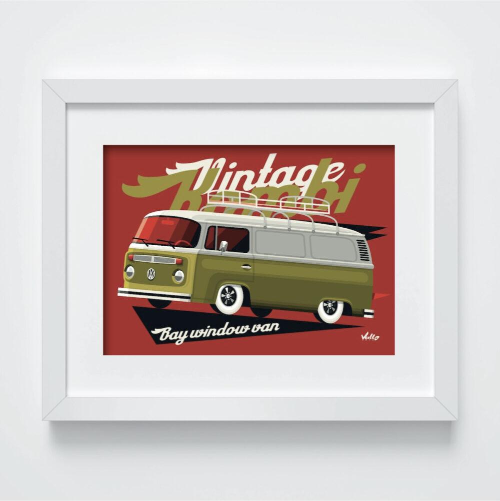 Carte postale Bay Window Van avec cadre