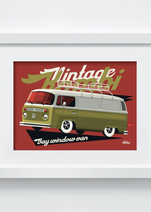 Bay Window Van postcard with frame