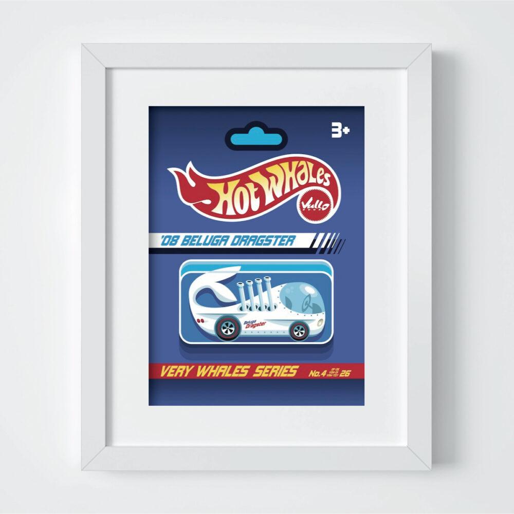 Carte postale Beluga Dragster avec cadre