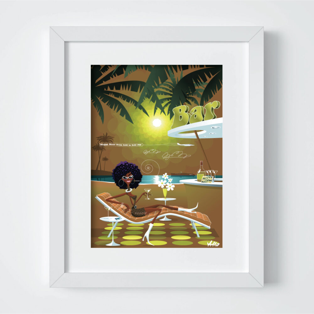 Black Panther's Beach Bar postcard with frame