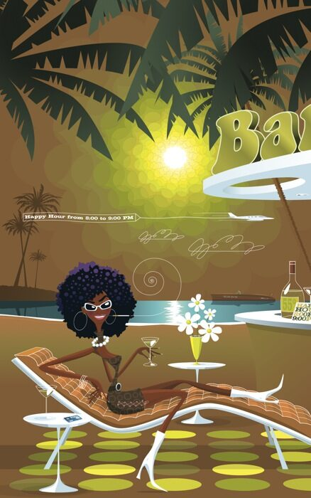 Black Panther's Beach Bar postcard