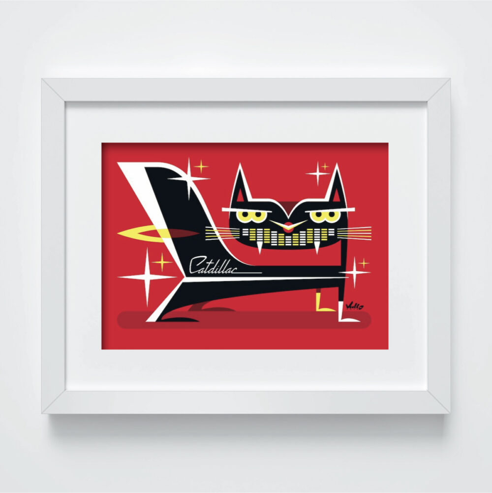 Carte postale Cat Dillac avec cadre