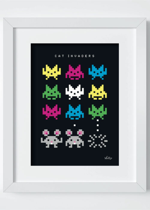 Cat Invaders postcard with frame