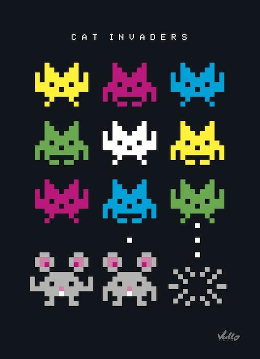 Carte postale Cat Invaders