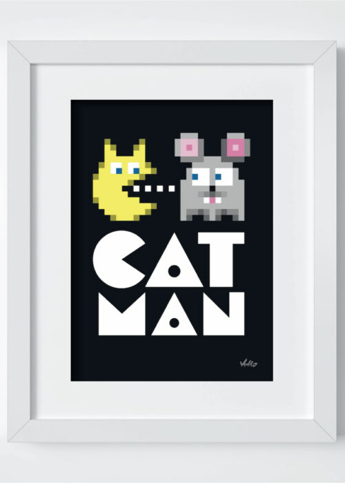 Cat Man postcard with frame