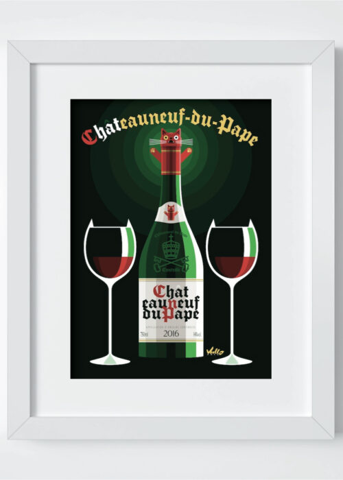 Chat...Eauneuf-Du-Pape postcard with frame