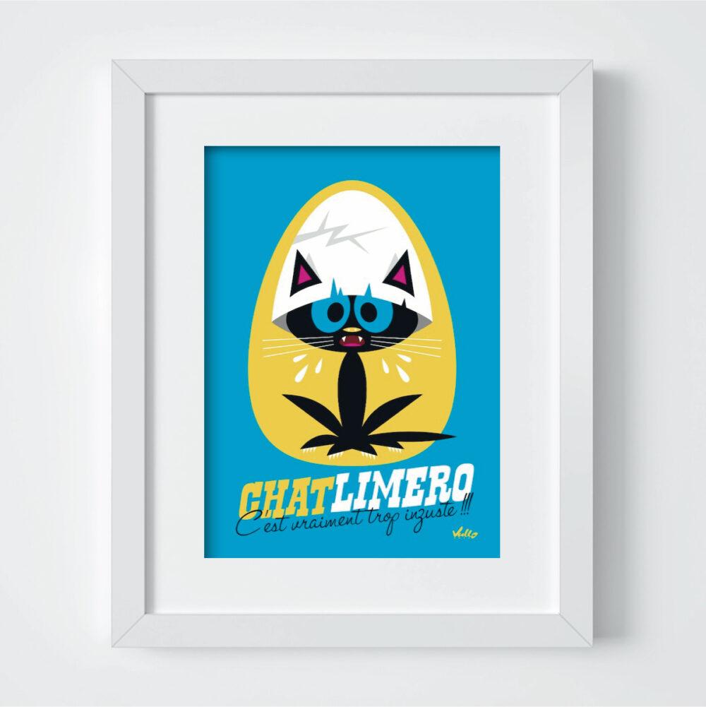 Carte postale Chat...Limero avec cadre