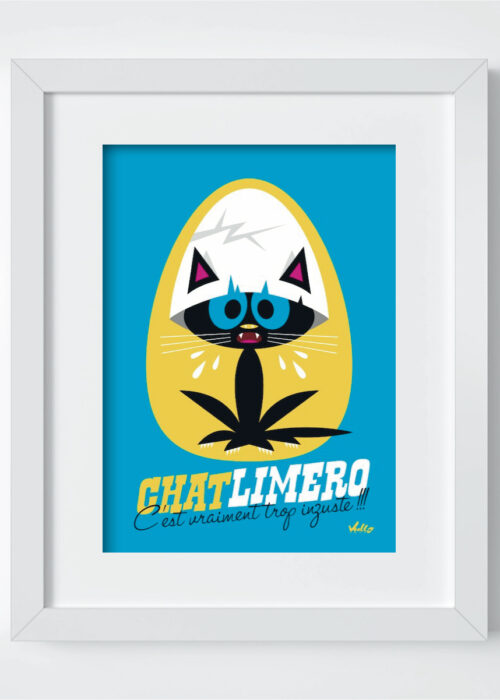 Chat...Limero postcard with frame
