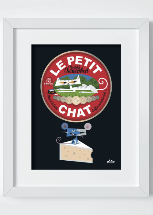Chat...Membert postcard with frame