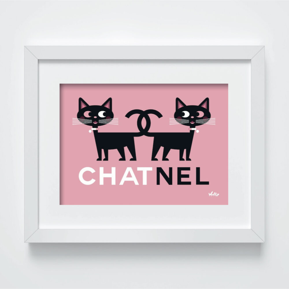 chat nel postcard with frame
