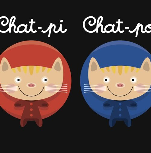 Chat-Pi Chat-Po postcard