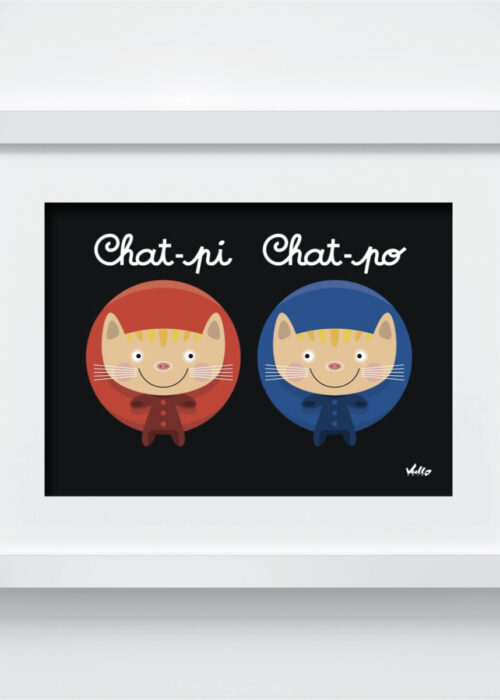 Chat-Pi Chat-Po postcard with frame