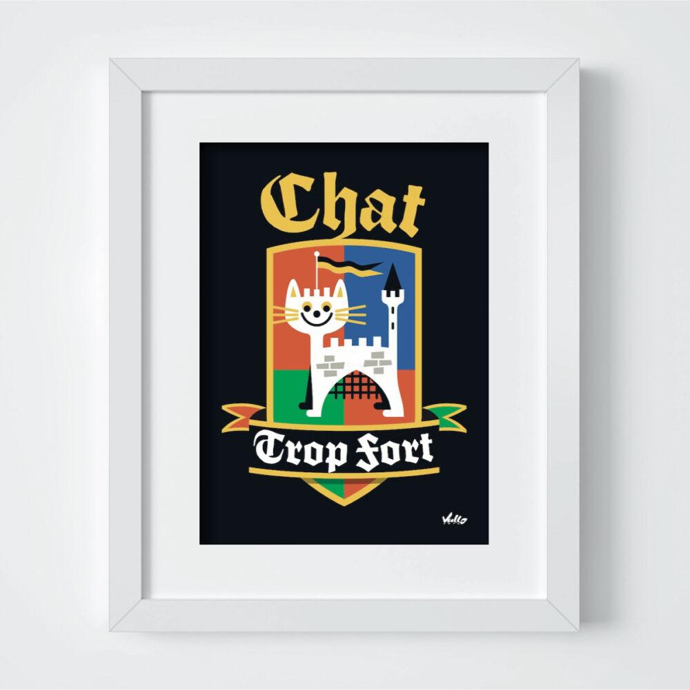 Carte postale Chat Trop Fort avec cadre