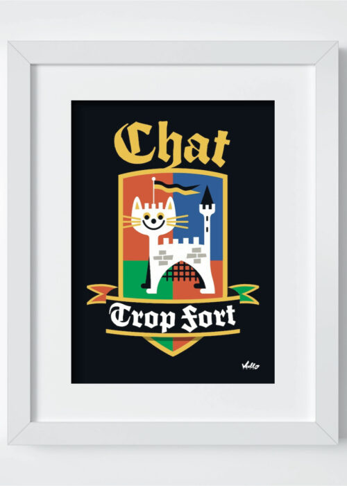 Chat Trop Fort postcard with frame