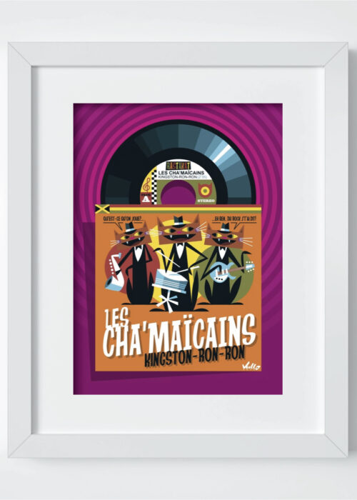 Chats...Maïcains postcard with frame