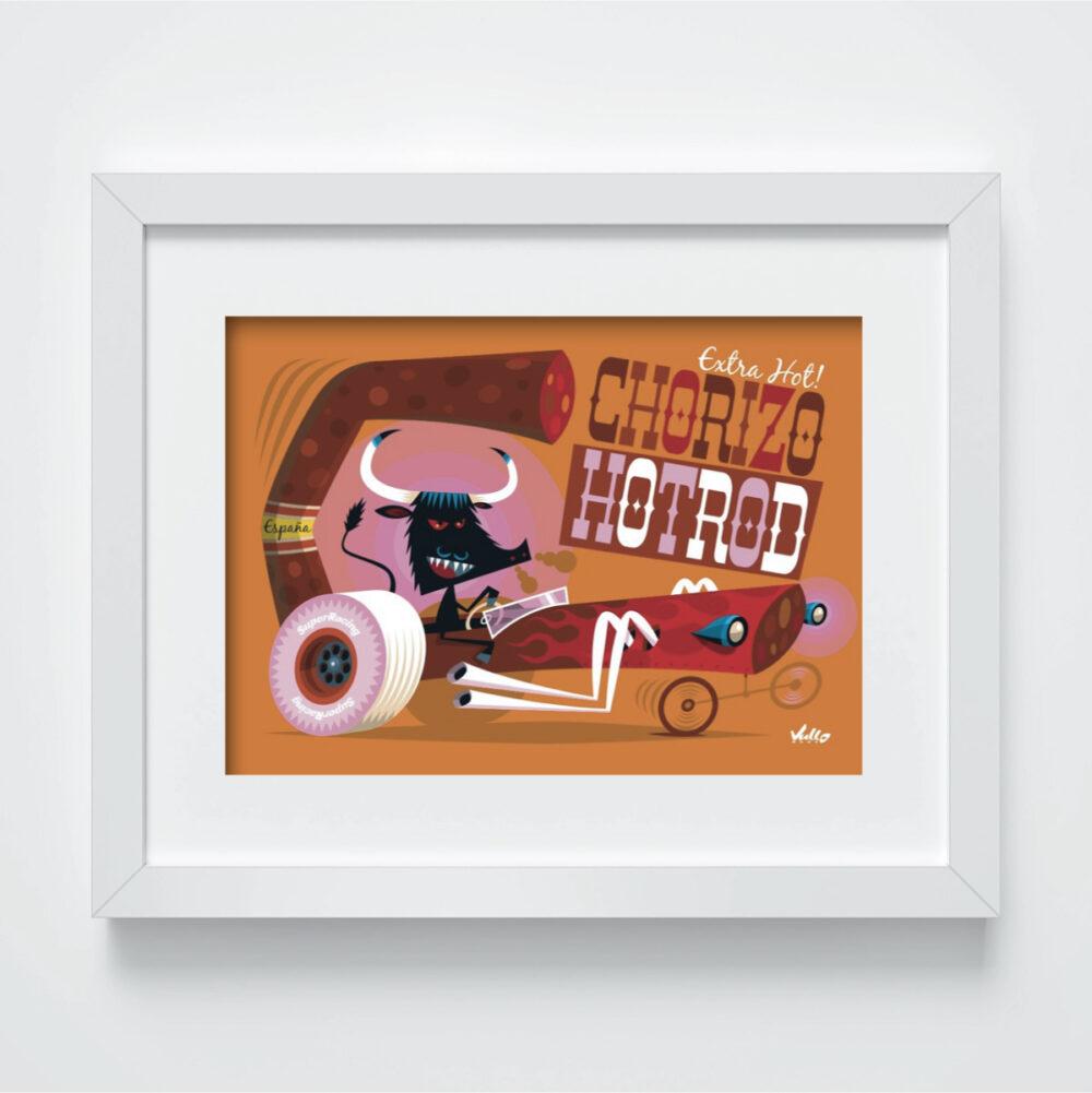 Carte postale Chorizo Hot Rod avec cadre
