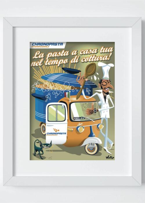 Chronopasta postcard with frame