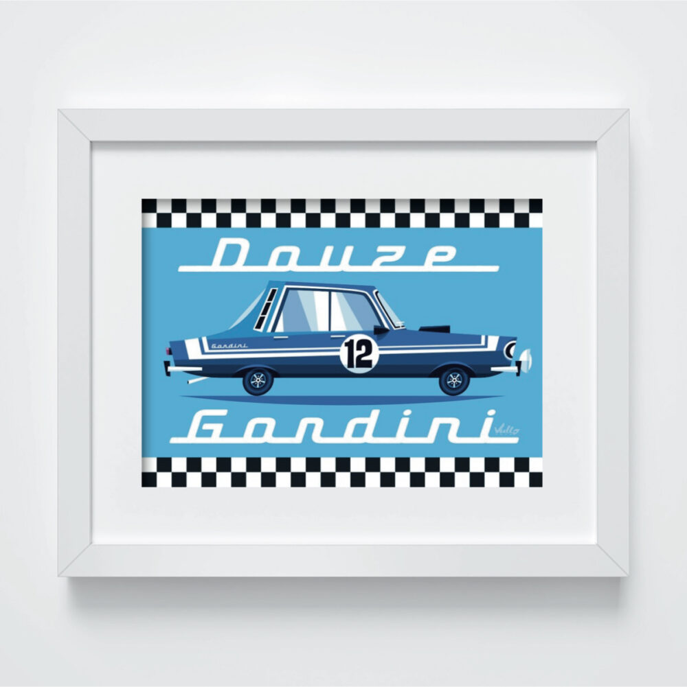 Renault 12 Gordini postcard with frame