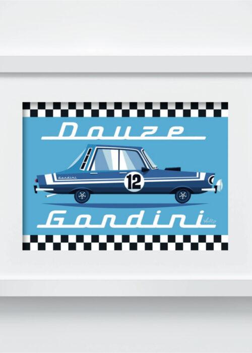 Carte postale Douze Gordini avec cadre