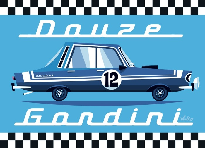 Renault 12 Gordini postcard
