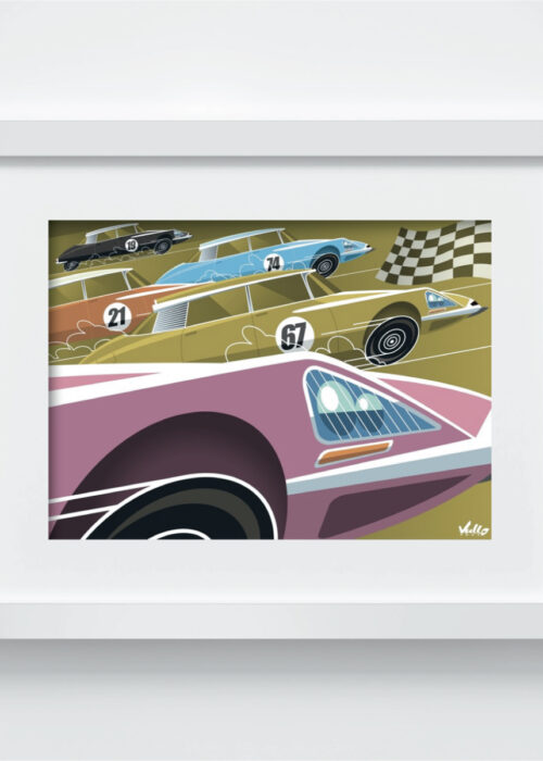 Carte postale DS Race avec cadre