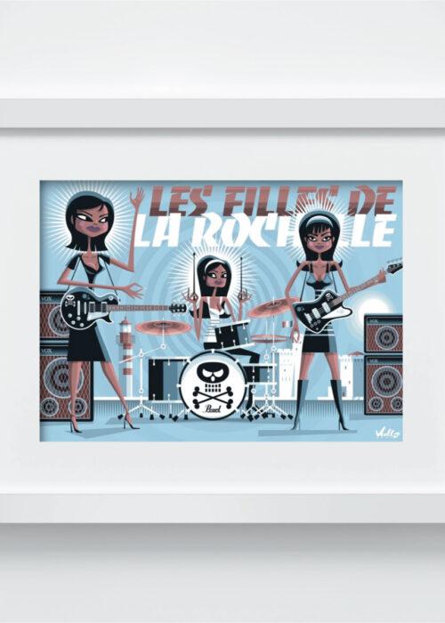carte postale les filles de la rochelle avec cadre