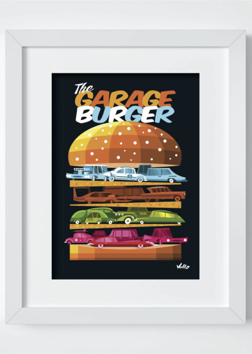 Carte postale The Garage Burger avec cadre