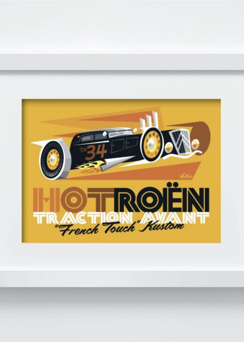 Carte postale Hotroen avec cadre