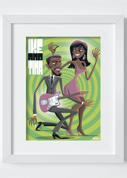 Ike And Tina postcard with frame