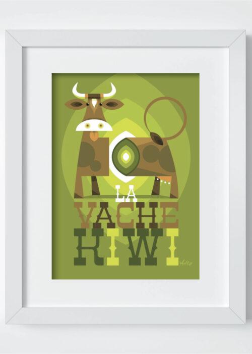 Carte postale La Vache Kiwi avec cadre